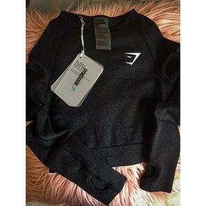 NWT! Gymshark Long Sleeve Flex Black Crop Top XS